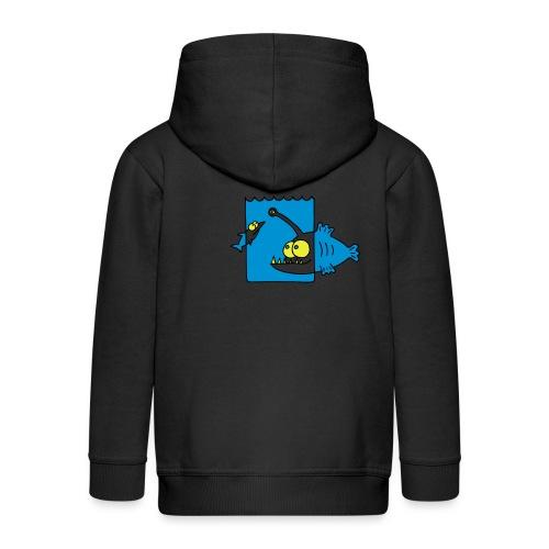 der Anglerfisch leuchtet den Weg, Lampe, angeln Langarmshirts - Kinder Premium Kapuzenjacke