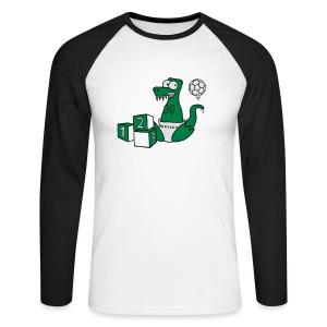 Baby T-Rex Dino mit Ball und Würfel T-Shirts - Männer Baseballshirt langarm