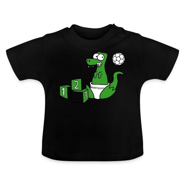 Baby T-Rex Dino mit Ball und Würfel T-Shirts