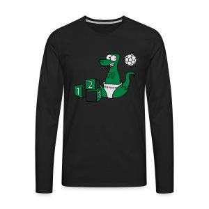 Baby T-Rex Dino mit Ball und Würfel T-Shirts - Männer Premium Langarmshirt