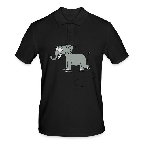 lustiger Elefant beim Schlittschuhfahren, Winter T-Shirts - Männer Poloshirt