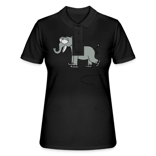 lustiger Elefant beim Schlittschuhfahren, Winter T-Shirts - Women's Polo Shirt