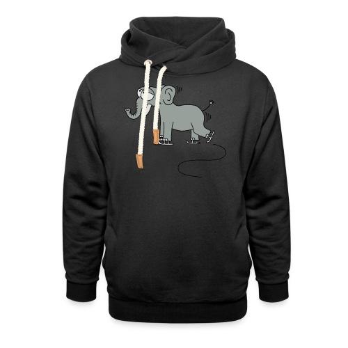 lustiger Elefant beim Schlittschuhfahren, Winter T-Shirts - Schalkragen Hoodie