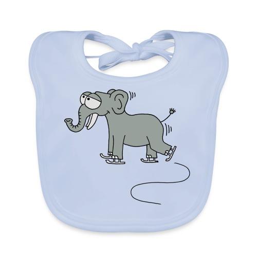 lustiger Elefant beim Schlittschuhfahren, Winter T-Shirts - Baby Bio-Lätzchen