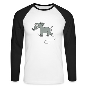 lustiger Elefant beim Schlittschuhfahren, Winter T-Shirts - Männer Baseballshirt langarm