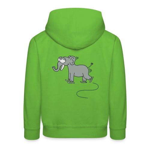 lustiger Elefant beim Schlittschuhfahren, Winter T-Shirts - Kinder Premium Hoodie