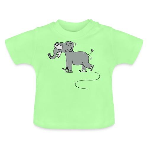 lustiger Elefant beim Schlittschuhfahren, Winter T-Shirts - Baby T-Shirt