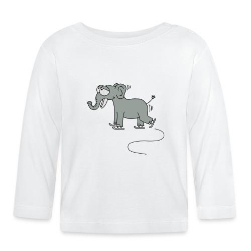 lustiger Elefant beim Schlittschuhfahren, Winter T-Shirts - Baby Langarmshirt