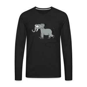 lustiger Elefant beim Schlittschuhfahren, Winter T-Shirts - Männer Premium Langarmshirt