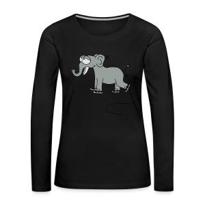 lustiger Elefant beim Schlittschuhfahren, Winter T-Shirts - Frauen Premium Langarmshirt