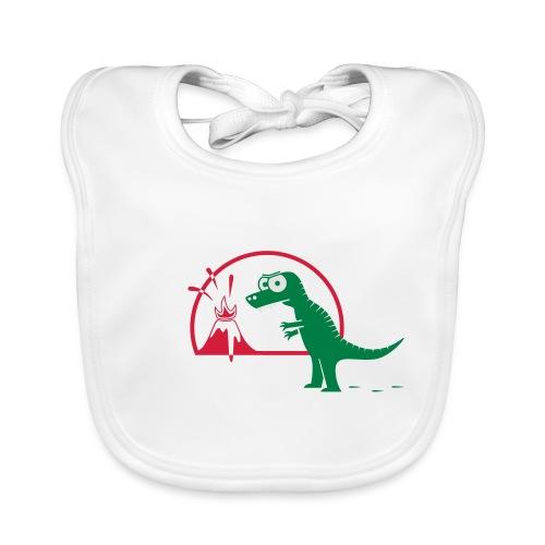 Dino mit Vulkan, T-Rex, Dinosaurier, Echse Baby T-Shirts - Baby Bio-Lätzchen