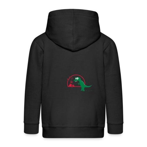 Dino mit Vulkan, T-Rex, Dinosaurier, Echse Baby T-Shirts - Kinder Premium Kapuzenjacke