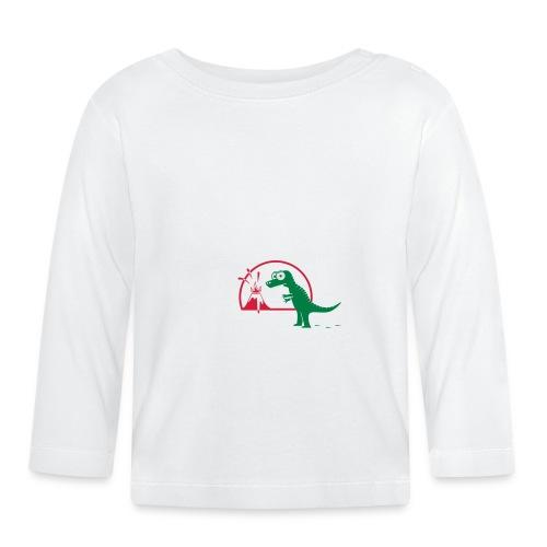 Dino mit Vulkan, T-Rex, Dinosaurier, Echse Baby T-Shirts - Baby Langarmshirt