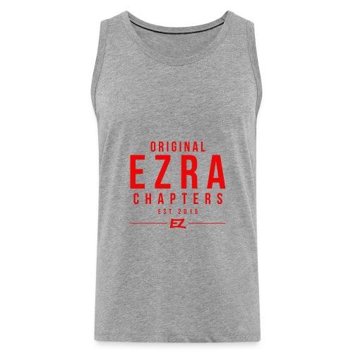 Ezra Hipster Hoddie - White On Red - Men's Premium Tank Top