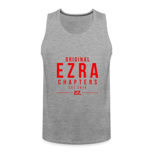 Ezra Hipster Hoddie - White On Red - Men's Premium Tank Top