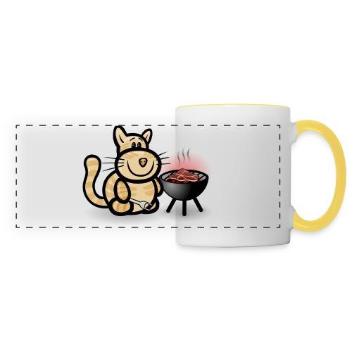Getigerte Katze beim Grillen - Panoramatasse