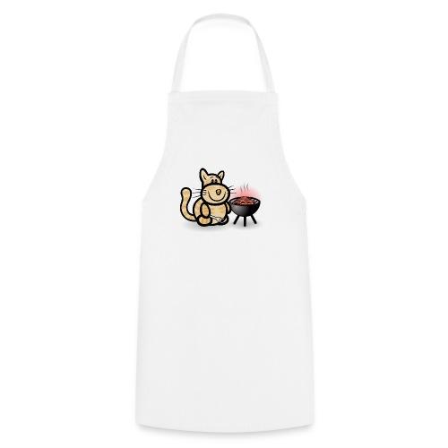Getigerte Katze beim Grillen - Kochschürze