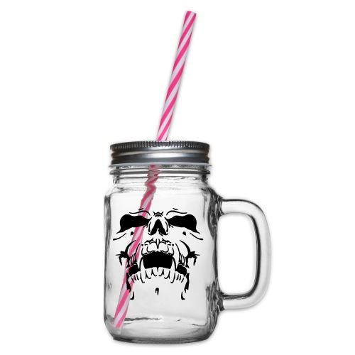 Sweat Cinza Caveira - Glass jar with handle and screw cap