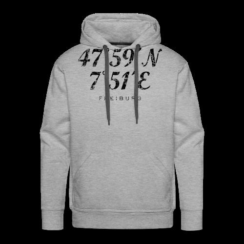 Freiburg Koordinaten Vintage (Schwarz) S-5XL T-Shirt - Männer Premium Hoodie