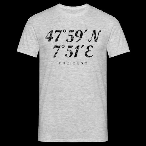 Freiburg Koordinaten Vintage (Schwarz) S-5XL T-Shirt - Männer T-Shirt