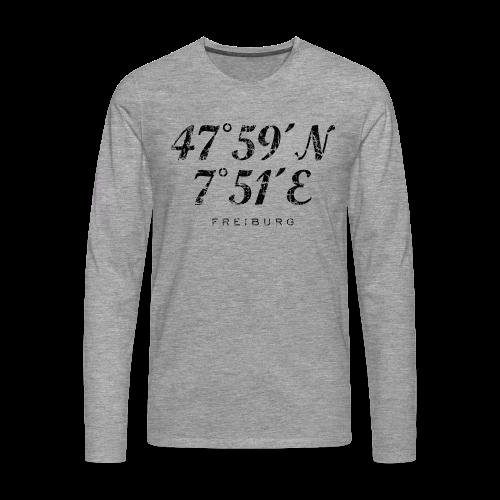 Freiburg Koordinaten Vintage (Schwarz) S-5XL T-Shirt - Männer Premium Langarmshirt