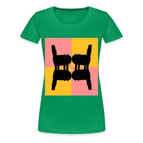 Katzen gespiegelt - Green Mirror Cats - Frauen Premium T-Shirt