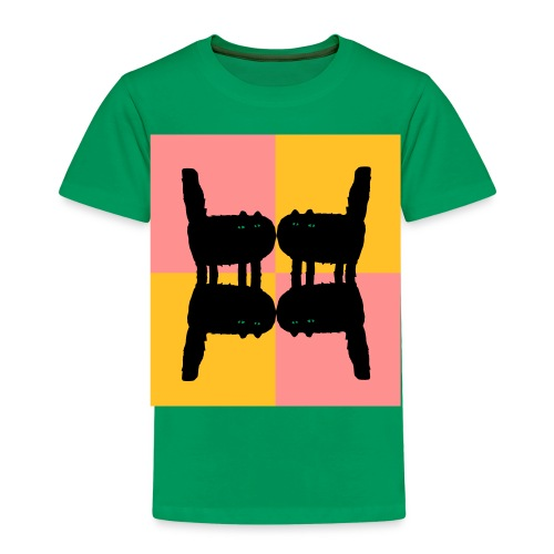 Katzen gespiegelt - Green Mirror Cats - Kinder Premium T-Shirt