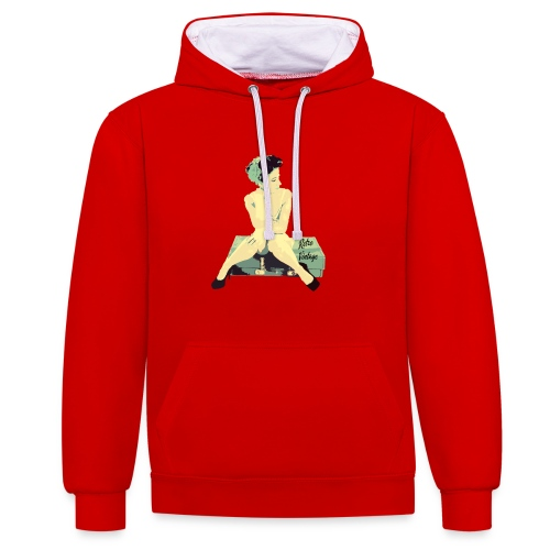 Retro Vintage Pin Up Girl - Contrast Colour Hoodie