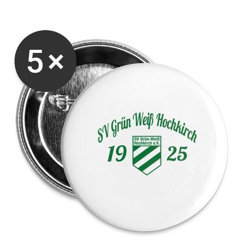 Shirt weiß mit Logo und Schritzug für unsere Herren - ♂  - Buttons mittel 32 mm (5er Pack)