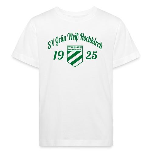 Shirt weiß mit Logo und Schritzug für unsere Herren - ♂  - Kinder Bio-T-Shirt
