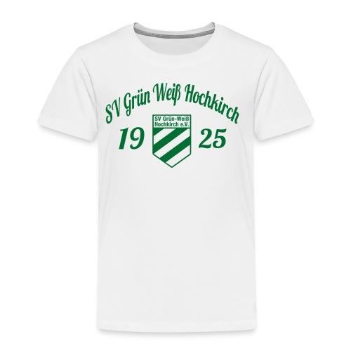 Shirt weiß mit Logo und Schritzug für unsere Herren - ♂  - Kinder Premium T-Shirt