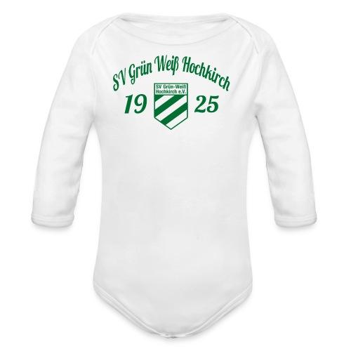 Shirt weiß mit Logo und Schritzug für unsere Herren - ♂  - Baby Bio-Langarm-Body