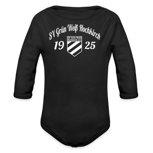 Shirt schwarz mit Logo und Schritzug für unsere Herren - ♂  - Baby Bio-Langarm-Body