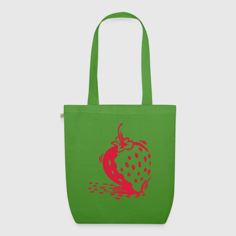 Erdbeer Shopper Green/Red - Bio-Stoffbeutel