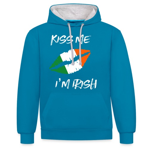 Kiss Me I'm Irish Patricks Day T-shirt - Contrast Colour Hoodie