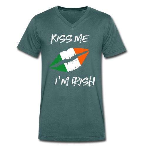 Kiss Me I'm Irish Patricks Day T-shirt - Men's Organic V-Neck T-Shirt by Stanley & Stella