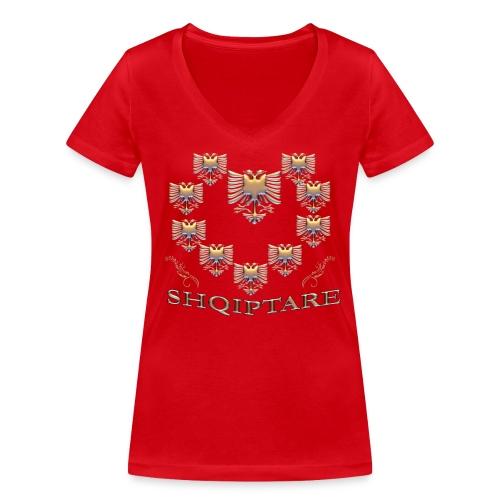 Shqiptare me Zemer te Art - Design - Frauen Bio-T-Shirt mit V-Ausschnitt von Stanley & Stella