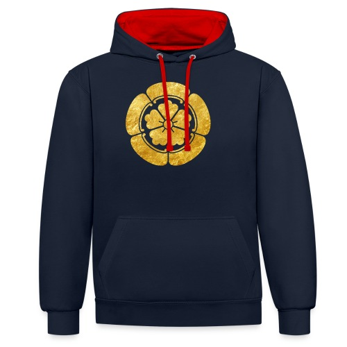 Oda Mon Japanese samurai clan faux gold on black - Contrast Colour Hoodie