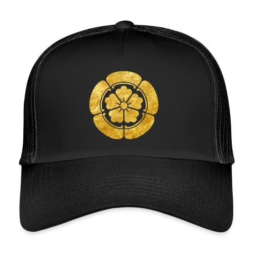 Oda Mon Japanese samurai clan faux gold on black - Trucker Cap