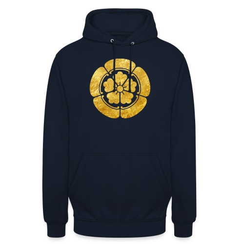 Oda Mon Japanese samurai clan faux gold on black - Unisex Hoodie