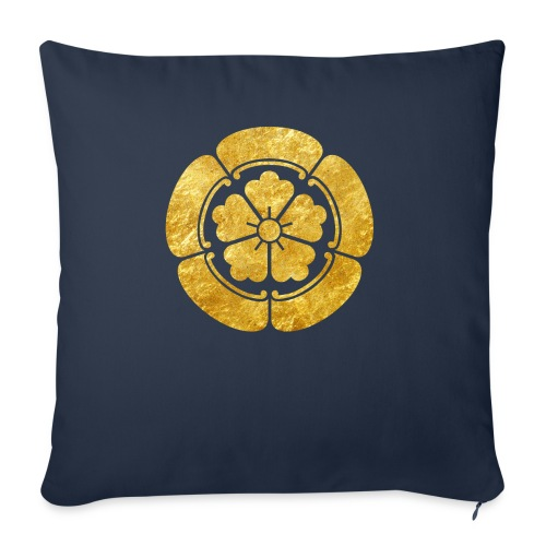 Oda Mon Japanese samurai clan faux gold on black - Sofa pillowcase 17,3'' x 17,3'' (45 x 45 cm)