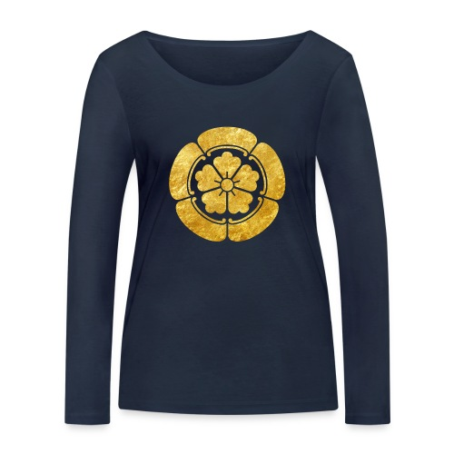 Oda Mon Japanese samurai clan faux gold on black - Women's Organic Longsleeve Shirt by Stanley & Stella