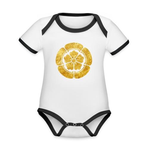 Oda Mon Japanese samurai clan faux gold on black - Organic Baby Contrasting Bodysuit