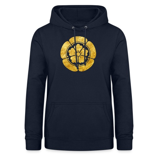 Oda Mon Japanese samurai clan faux gold on black - Women's Hoodie