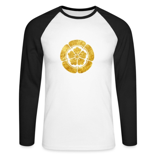 Oda Mon Japanese samurai clan faux gold on black - Men's Long Sleeve Baseball T-Shirt