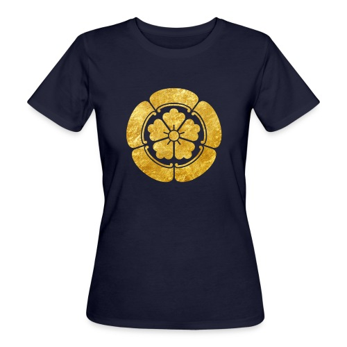 Oda Mon Japanese samurai clan faux gold on black - Women's Organic T-Shirt