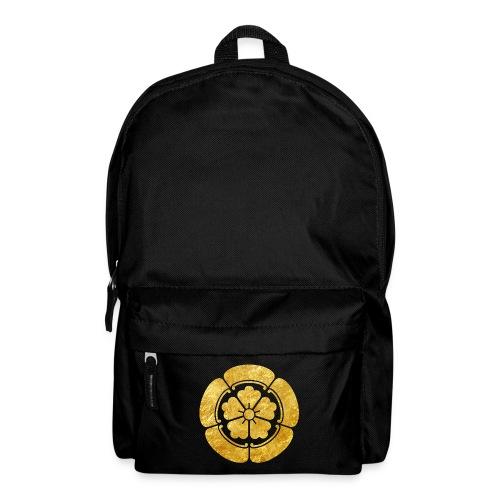 Oda Mon Japanese samurai clan faux gold on black - Backpack