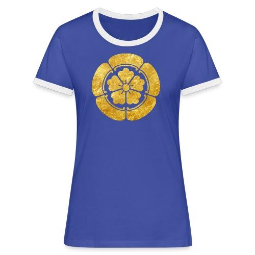 Oda Mon Japanese samurai clan faux gold on black - Women's Ringer T-Shirt