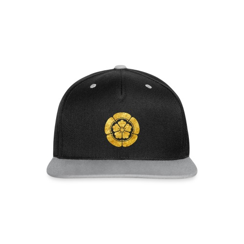 Oda Mon Japanese samurai clan faux gold on black - Contrast Snapback Cap