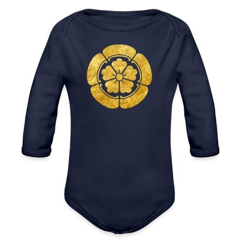Oda Mon Japanese samurai clan faux gold on black - Organic Longsleeve Baby Bodysuit